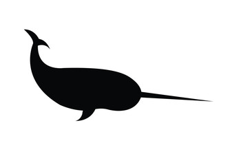 Vector black silhouette of narwhal isolated on white background