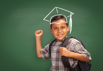 Young Hispanic Student Boy Wearing Backpack Front Of Blackboard with Graduation Cap Drawn In Chalk Over Head