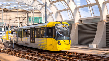 Light rail Metrolink tram in the city center of Manchester, UK Wall mural
