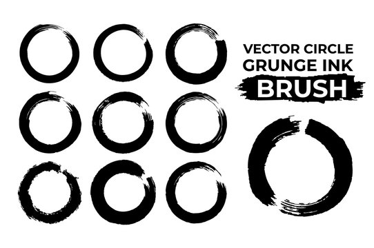 Grunge circle ink brush vector set, enzo dry brush circle stroke brush set