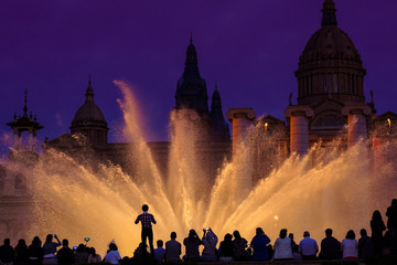 Magic Montjuic Fountain.Water and lights show in Barcelona, Spain