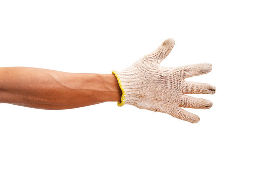 Worker hand with a glove isolated on white background