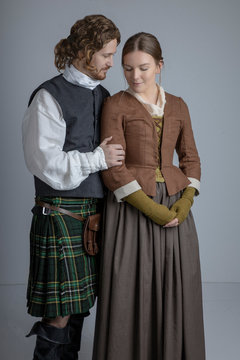 18th Century Scottish couple studio backdrop