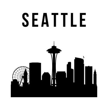 Seattle city simple silhouette. Modern urban background. Vector skyline.
