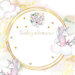 Watercolor handpainted baby shower pre made cards with unicorns, rainbow, clouds,  stars, hearts, gold frames