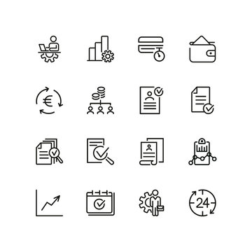 Accounting management line icon set. Graph, approved document, accountant. Business concept. Can be used for topics like finance, analysis, banking