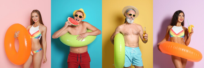 Set of people with bright inflatable rings on color background
