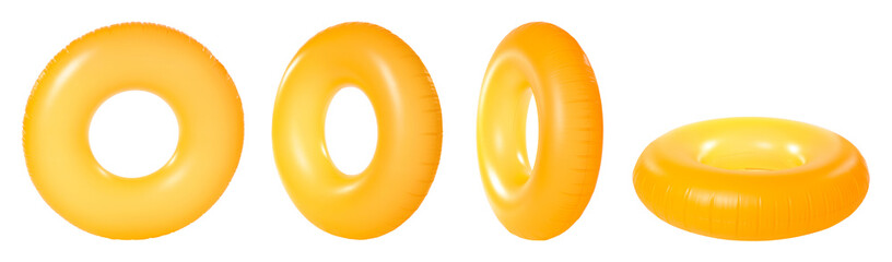 Set of bright inflatable rings on white background