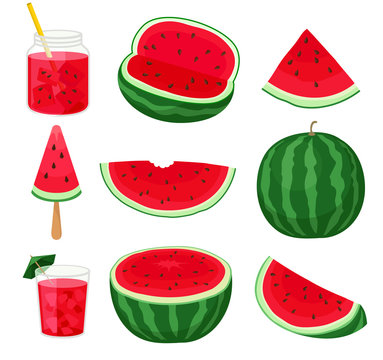 Set of pieces of watermelon different forms and products from it. Vector illustration on white background.