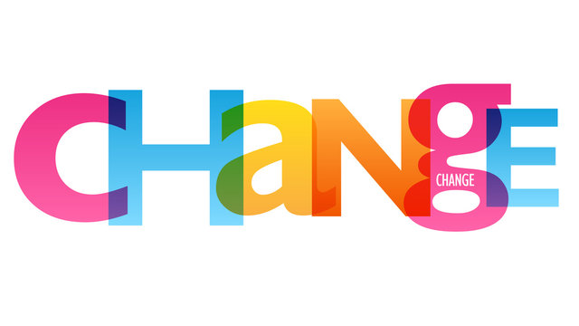 CHANGE colorful vector concept word typography banner