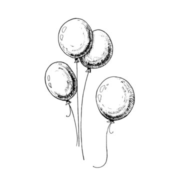 Balloons sketch. Hand-drawn balloons, isolated on white background. Black vector illustration.