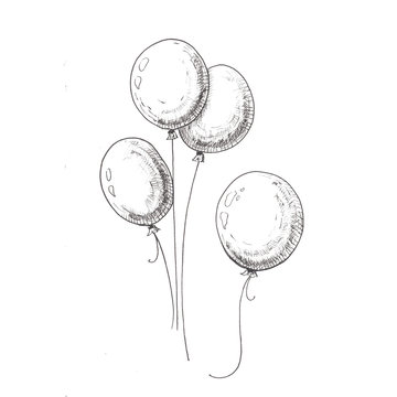 Balloons sketch. Hand-drawn black air balloons, isolated on white background.