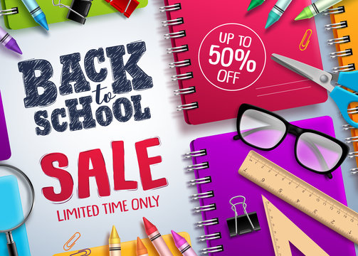Back to school sale vector banner. Back to school and discount text in white space with colorful school supplies for educational promotion. Vector illustration.