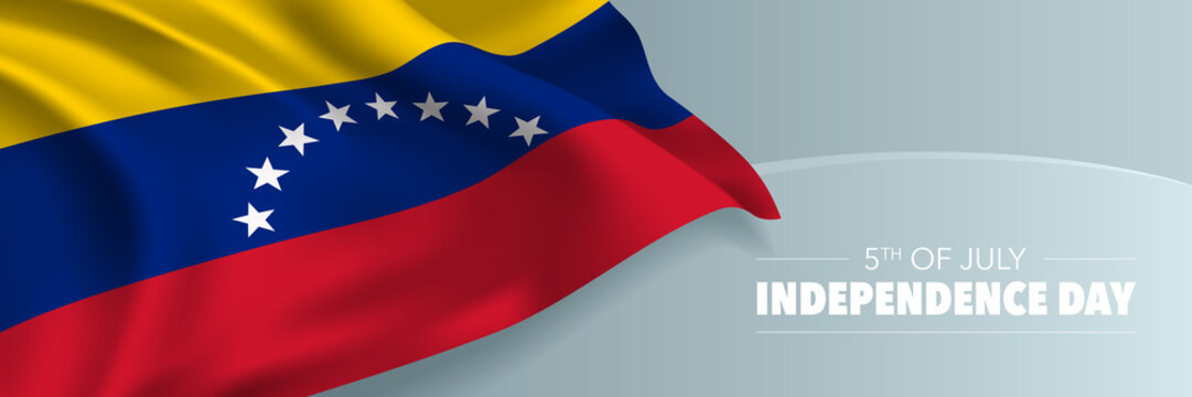 Venezuela happy independence day vector banner, greeting card