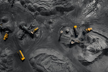Open pit mine, extractive industry for coal, top view aerial drone Wall mural