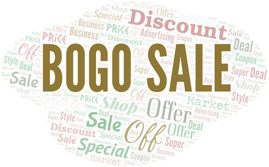 Bogo Sale Word Cloud. Wordcloud Made With Text.