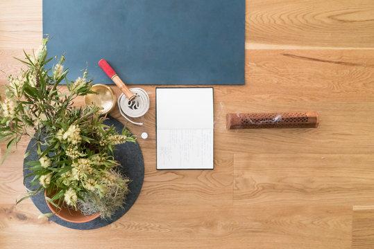 morning ritual yoga mat with journal
