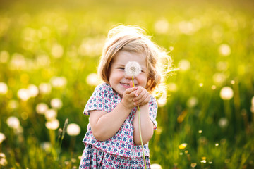 Adorable cute little baby girl blowing on a dandelion flower on the nature in the summer. Happy...