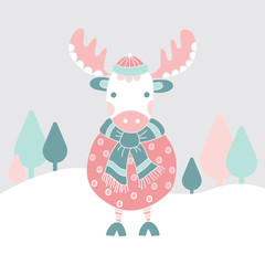 Friendly moose with a scarf and hat in the snow - vector illustration