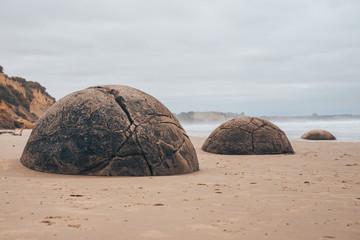 Moeraki Boulders on the beach in New Zealand