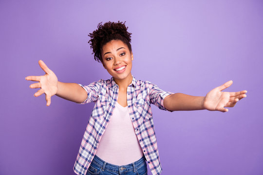 Portrait of funny cute charming friendly lady cuddle friend feel excited enjoy content glad want see him her dressed checked shirts isolated on purple background