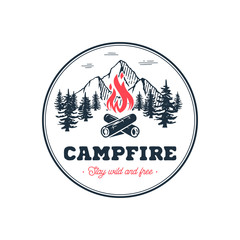 Campfire stay wild circle white Vector illustration.