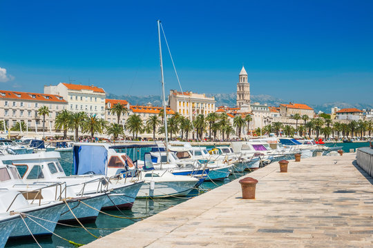 Boats and yachts in marina of Split, Croatia, largest city of the region of Dalmatia and popular touristic destination, beautiful seascape