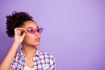 Fototapete - Portrait of magnificent fabulous lady touch specs feel confident cool independent freedom flirt flirty dressed modern spring clothing isolated on purple background