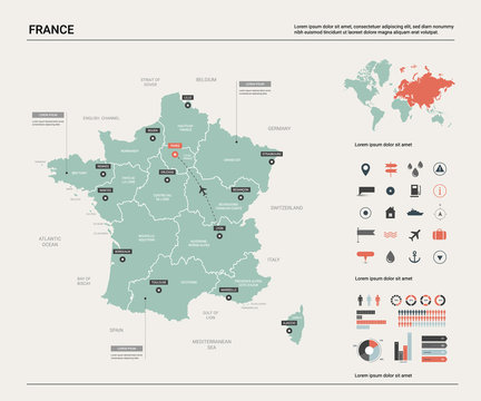 Vector map of France. Country map with division, cities and capital Paris. Political map,  world map, infographic elements.