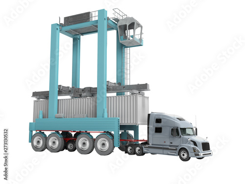Concept of loading cargo container with blue crane on truck