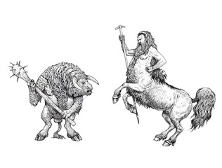 Centaurus and minotaur anatomy comparison. Monster illustration. Fantasy ink drawing.