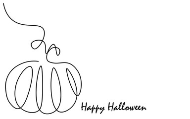 Happy halloween greeting card with pumpkins, vector illustration