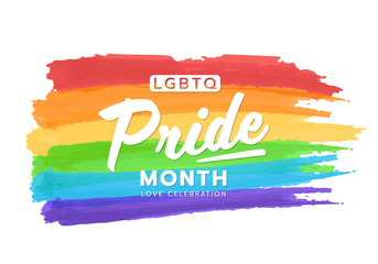 LGBTQ pride month banner text on colorful rainbow flag Paint brush style vector design