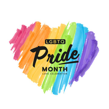LGBTQ pride month banner text on colorful rainbow Heart Paint brush style vector design