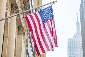 Fototapete - American flag, Manhattan downtown, blur Empire state building on the background