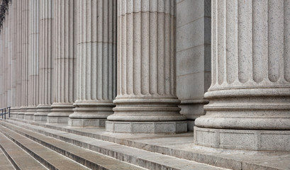 Stone pillars row and stairs detail. Classical building facade Fototapete