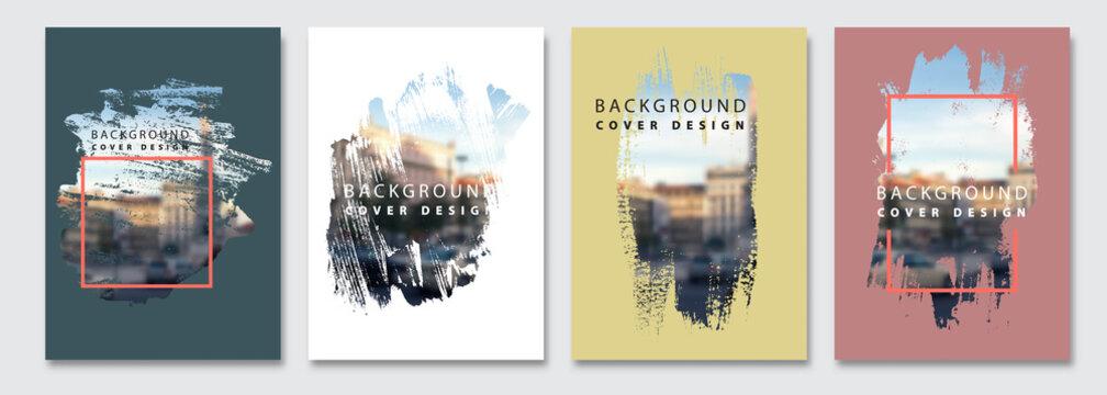 Vector paint brush clipping masks for flyer, presentation, brochure, banner, poster design. City blur background.