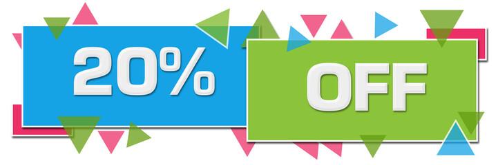 Discount Twenty Percent Off Green Blue Colorful Horizontal Squares Triangles