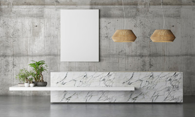 Marble Reception Office Table with plants on concrete background wall , 3d illustration
