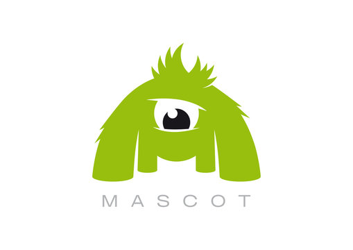 Vector logo mascot creature. isolated on white background.