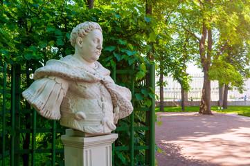 Summer garden, Saint Petersburg, Russia. The sculpture of Jan Sobieski, Polish King in the Summer...