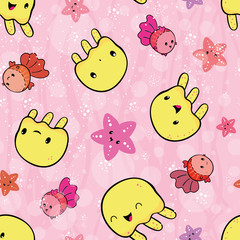 Playful yellow jellyfish and pink starfish playing.Seamless vector pattern on pink background with transparent bubble and wave texture. Great for bathroom, kids and baby products, stationery, gifts
