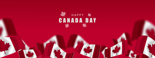 Canada day Vector Illustration, realistic rippling canadian flag - Vektor