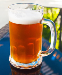 A glass of fresh cold beer on the table