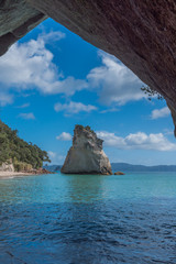 Cathedral Cove, Coromandel Peninsula, North Island, New Zealand. Vertical.