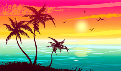 Tropical landscape with sea, sunset and silhouettes of palm trees. Abstract landscape. Vector illustration.