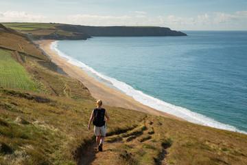 Walking Coast Path above Porthleven Sands