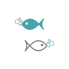 Vector illustration of fish icon with air bubbles. Set of two vector icons. Flat design Monochrome