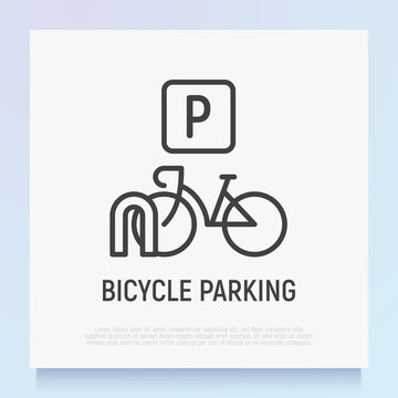 Bicycle parking thin line icon. Modern vector illustration.