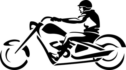 Stylized Chopper Rider Abstract Isolated Vector